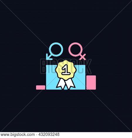 Gender Equality Rgb Color Icon For Dark Theme. Enjoy Equal Rewards. Gender-balanced Participation. I