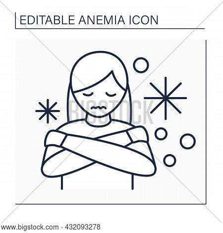 Anemia Line Icon. Disease Symptoms. Woman Has Cold Hands And Feet. Low Hemoglobin, Body Temperature.