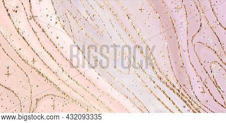 Abstract Luxury Liquid Marble Painting Background Print With Gold Splash Texture, Stars And Lines. V