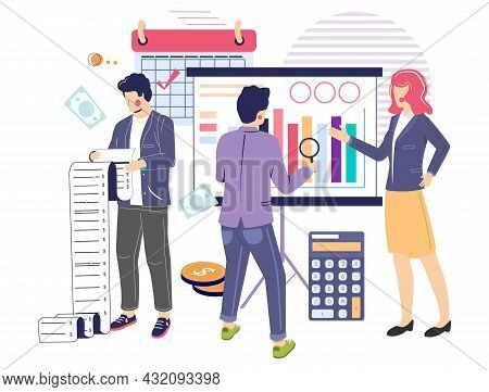 Business Consultant, Audit Professionals Analysing Data, Flat Vector Illustration. Financial Stateme