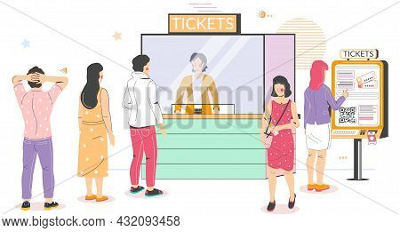 People Buying Cinema Tickets At Self Service Terminal And At Movie Ticket Counter Standing In Queue,