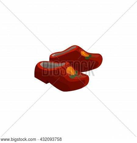 Dutch Historical Traditional Wooden Clog Shoes Flat Vector Illustration Isolated.