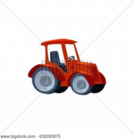 Red Farm Tractor Car Machine Symbol, Flat Vector Illustration Isolated On White.