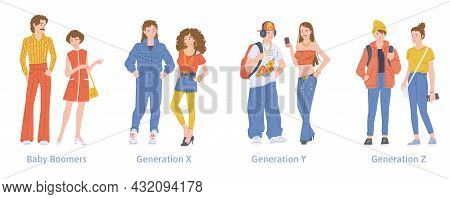 A Set Of Young Characters Different Generations X, Y, Z And Baby Boomers.