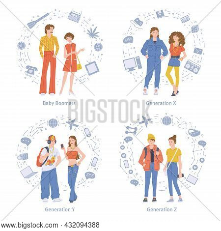 Baby Boomers And X, Y And Z Generations Flat Vector Illustration Isolated.
