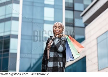 Beautiful Female Shopper Happy With Shopping In Sales Season After Covid-19 Pandemic