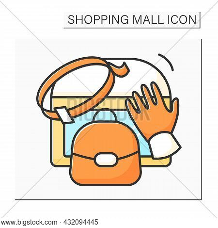 Leather Accessories Color Icon.stylish, Luxury Leather Goods Bag, Gloves, Wallet And Backpack. Moder