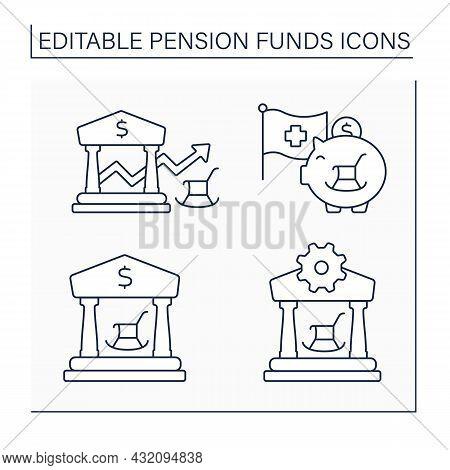 Pension Funds Line Icons Set. Client Support Service, Balance, Credit Suisse, Public Pension. Econom