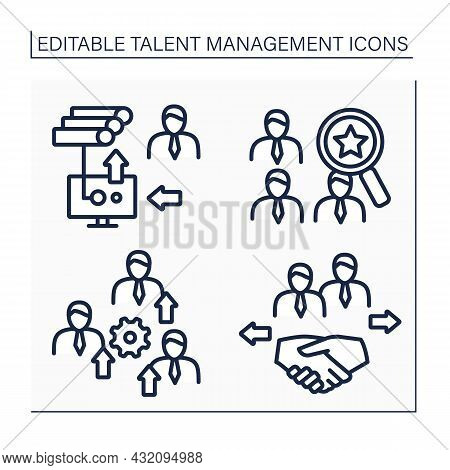 Talent Management Line Icons Set.talent Marketplace, Hris, Promote Employees, Maintain Relationships