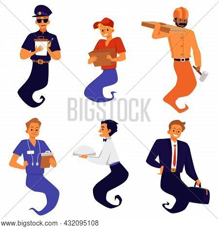 Characters Of Genie Of Various Professions, Flat Vector Illustration Isolated.