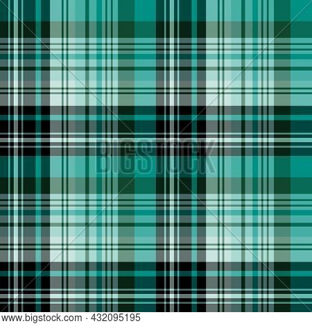 Seamless Pattern In Cold Green And Black Colors For Plaid, Fabric, Textile, Clothes, Tablecloth And