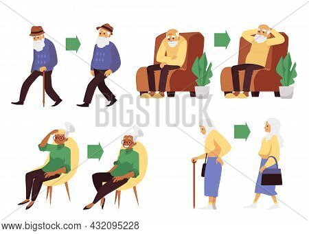 A Set Of Characters Energetic And Tired Old People A Flat Vector Illustrations