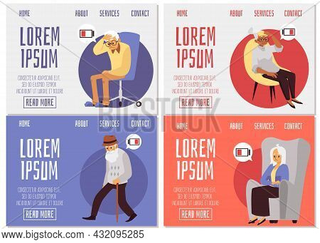 Web Banners Set With Tired Or Sick Elderly People, Flat Vector Illustration.