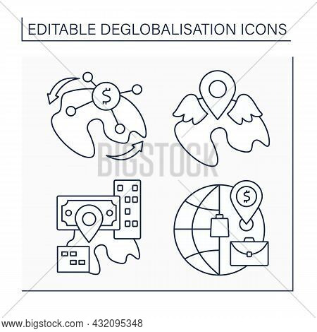 Deglobalisation Line Icons Set. Reverse Globalization, Local Resurgence And Market. Income Redistrib