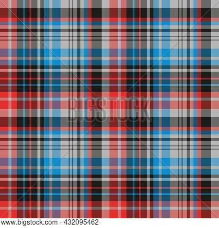 Seamless Pattern In Blue, Red, Gray And Black Colors For Plaid, Fabric, Textile, Clothes, Tablecloth
