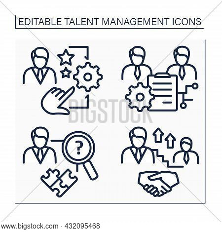Talent Management Line Icons Set. Workforce And Succession Planning, Skill Gap Analysis. Improving B
