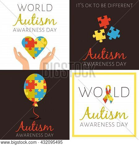 Set Of Posters For World Autism Awareness Day With Different Symbols From Puzzles