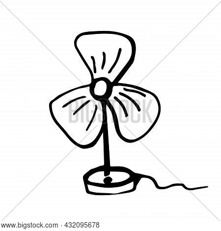 Small Table Fan In The Doodle Style Is Drawn. Vector Fan On A White Background Isolated