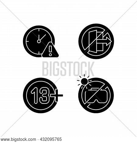 Vr Headset Usage Prohibitions Black Glyph Manual Label Icons Set On White Space. Age Requirement And