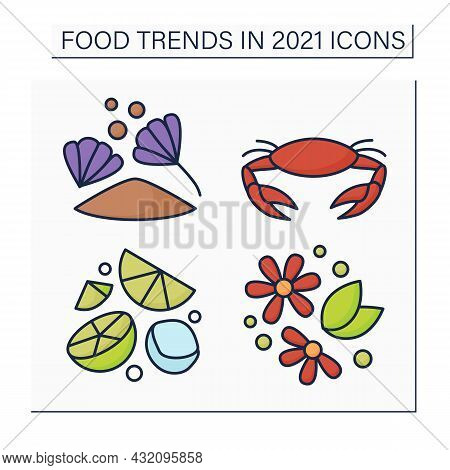 Food Trends Color Icons Set. Trendy Dishes. Herbal Tea, Chicory Drink, Hard Seltzer, Seafood Boils.