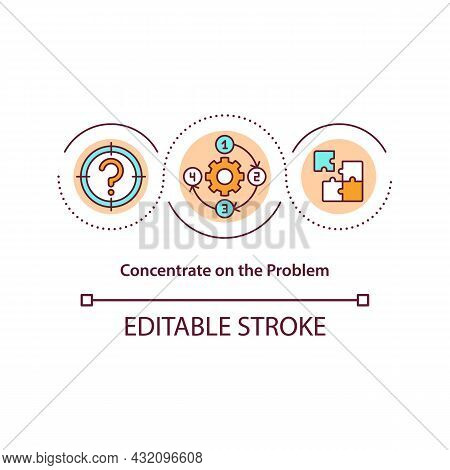 Concentrate On Problem Concept Icon. Smart Strategy To Solve Issue. Conflict Management Strategy Abs