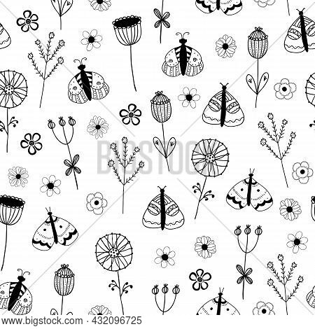 Vector Seamless Pattern With Butterflies, Flowers On White Background. For Decoration, Invitation Ba
