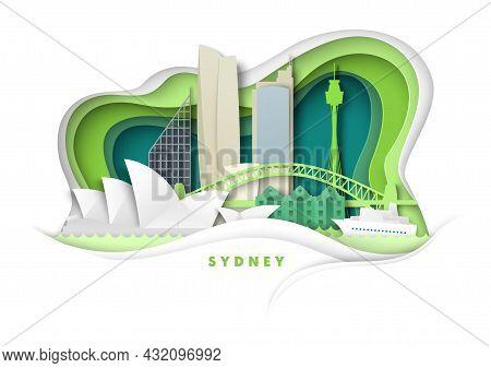 Sydney City, Australia, Vector Paper Cut Illustration. Harbour Bridge, Opera House World Famous Land