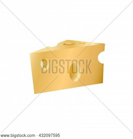 Cheese With Holes Isolated On White Background. Dairy Product In Flat Style, Icon. Cartoon Triangle