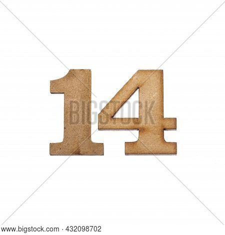 Number Fourteen, 14 - Piece Of Wood Isolated On White Background