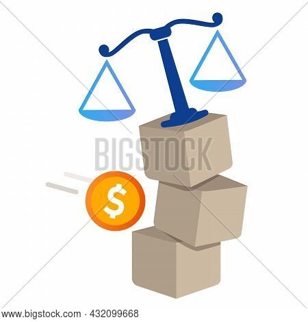 Law Falling Injustice Symbol Scale Balance And Coin Money Concept Of Bribery Corruption In Judicial