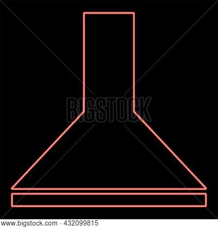 Neon Exhaust Hood Red Color Vector Illustration Flat Style Light Image