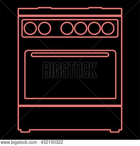 Neon Kitchen Stove Red Color Vector Illustration Flat Style Light Image