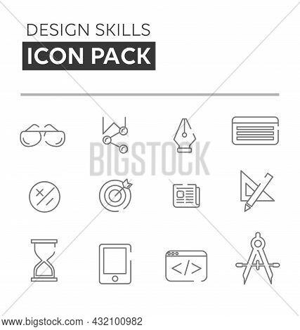 Design Skills Linear Icons Set . Design Skills Linear Icon Pack
