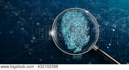 Magnifying Glass And Biometrics Authentication Technology With Binary Code. Fingerprint Digital Tech