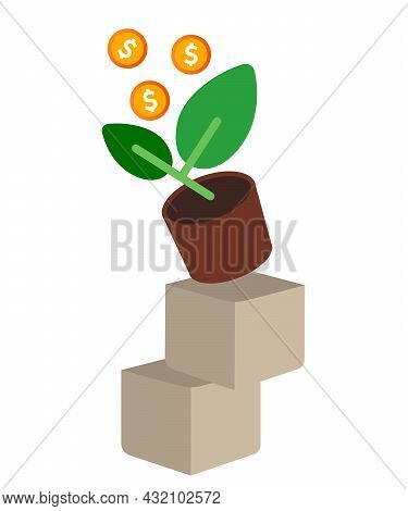 High Risk Investment Concept Money Plant Above Unstable Stacked Box High Profit Risky Financial Mana