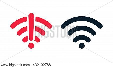 Wireless Wifi Vector Icon No Signal And Signal Flat Design Set. On And No Wifi Internet Signal Symbo