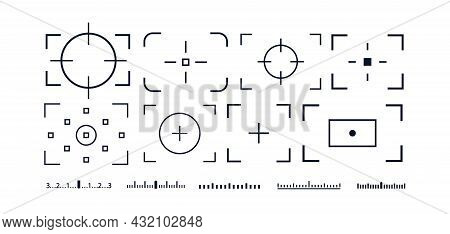Camera Frame Viewfinder Vector Icon Set Isolated On White Background For Screen Photography Frame Fo