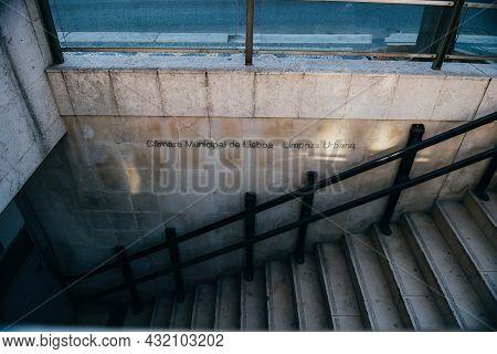 Staircase Entrance Signage To Camara Municipal De Lisboa Translated As Lisbon City Council