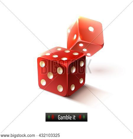 Game Gamble Casino Dice Set Realistic Isolated On White Background Vector Illustration