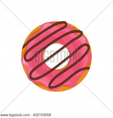 Pink Donut. Doughnut With Chocolate. Cute Of Cake For Breakfast. Pink Donut With Cream. Cartoon Food