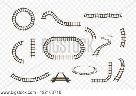 Rail Track. Railway For Train. Line Of Road For Subway, Tram And Train. Icon Of Railroad For Toy. Se