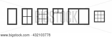 Window Frame. Silhouette Of Window. Outline Icon Of House, Building And Facade. Black Decorative Arc