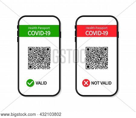 Vaccine Certificate In Smartphone. Covid Passport With Green And Red Pass In Screen Of Phone. App Fo
