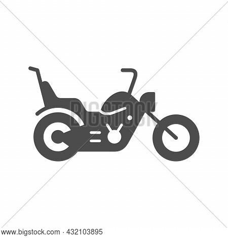 Chopper Motorcycle Or Motorbike Glyph Icon Isolated On White