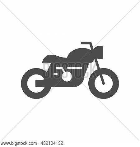 Cafe Racer Motorcycle Glyph Icon Isolated On White