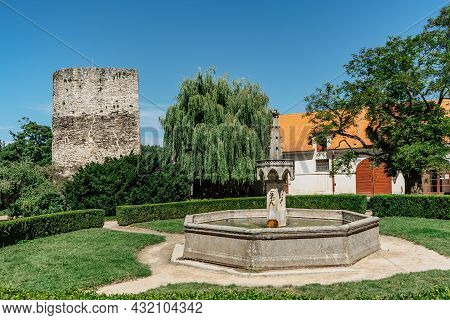 Bitov,czech Republic-august 7,2021.courtyard Of Bitov Castle With Fountain And Old Stone Tower.czech