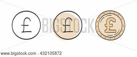 Icons Of Pounds Sterling. The Drawn Symbol Of The Pounds. Signs Of The Currencies Of The World. Vect