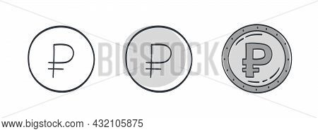 Icons Of The Russian Ruble. Painted Symbol Of The Russian Ruble. Symbols Of The Currencies Of The Wo