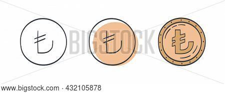 Icons Of Turkish Lira. Painted Symbol Of The Lira. Symbols Of The Currencies Of The World. Vector Il