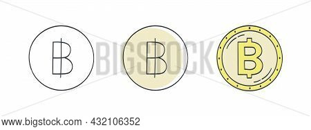 Thai Baht Icons. Painted Symbol Of The Baht. Signs Of The Currencies Of The World. Vector Illustrati